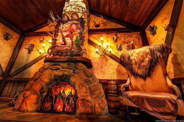 The fireplace area inside Gaston's Tavern