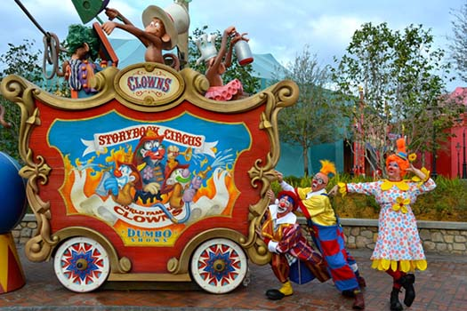 The Giggle Gang at Storybook Circus posing at the Clowns car from Casey Jr.