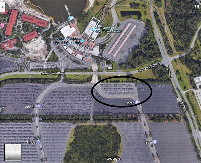 A map showing the handicapped lot at the Transportation and Ticket Center