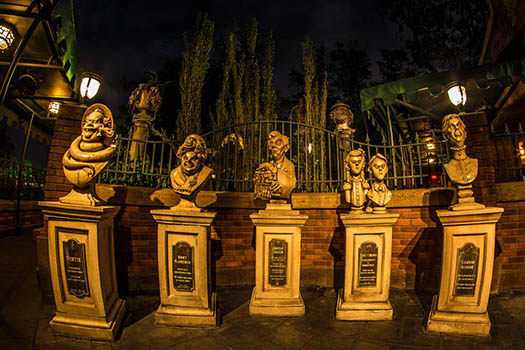 The Busts outside the Haunted Mansion