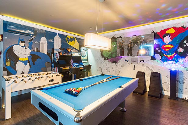 A cool game room in a vacation home near WDW