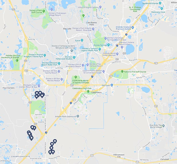 Map of some of the vacation homes near Disney World
