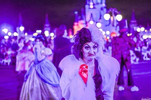 Cruella De Vil in the Boo To You Parade at Mickey's Not So Scary Halloween Party