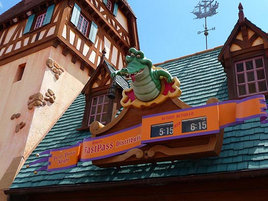 The Fastpass clocks and alligator at Peter Pan's Flight