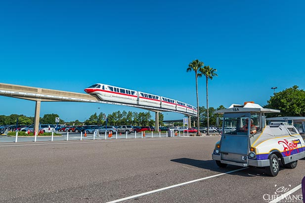 A tram in the parking lot at EPCOT