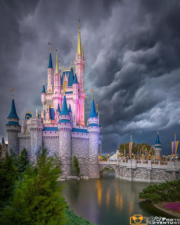 Hurricanes bring scary clouds to Cinderella Castle