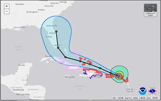 the latest track of Irma from the NOAA