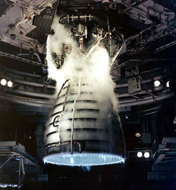 Shuttle engine test firing at the John C. Stennis Space Center