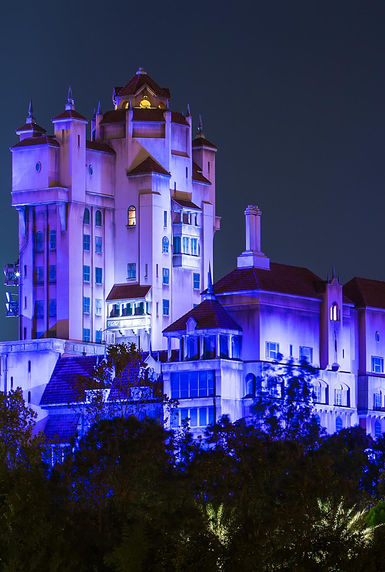 The Tower of Terror at night