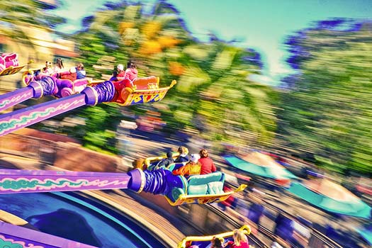 The Magic Carpets of Aladdin streaking through the skies