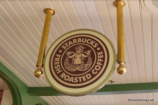 The Starbucks sign outside the Main Street Bakery