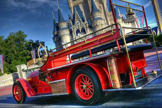 The Fire Truck on Main Street at the Magic Kingdom