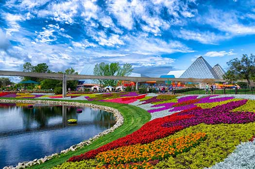 the EPCOT Monorail gliding over the Flower and Garden Festival