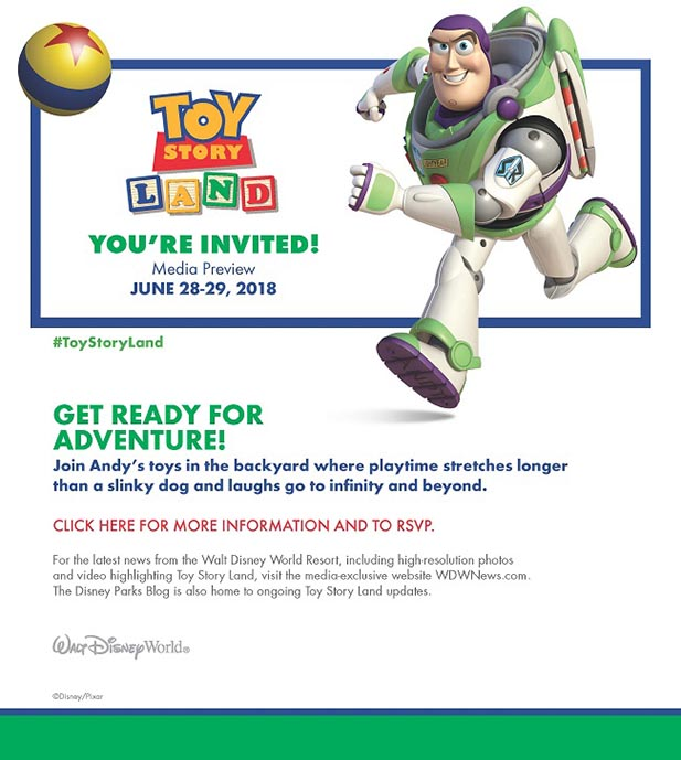 The invitation to the Media Preview of Toy Story Land