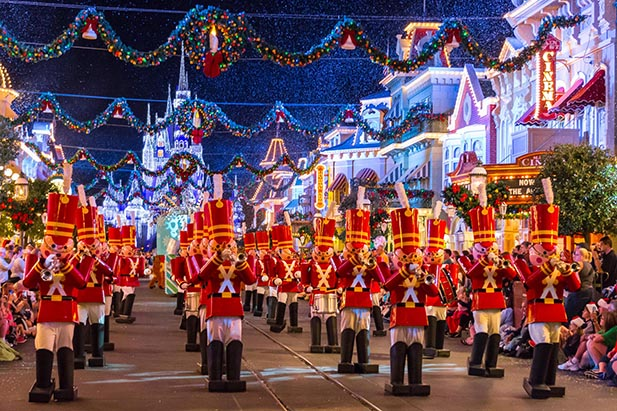 Toy Soldiers Marching Down Main Street in the Once Upon a Christmastime Parade