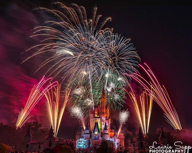 The Hallowishes fireworks over a Spooky Cinderella Castle