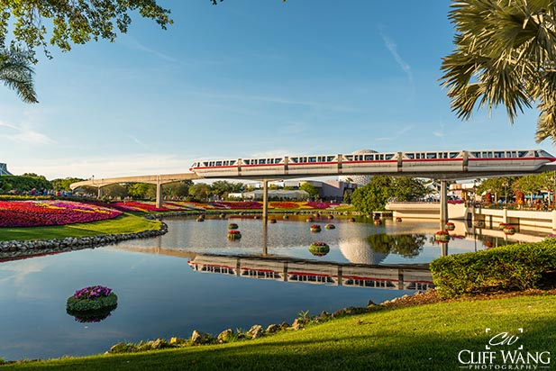The Monorail gliding through EPCOT