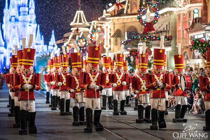 The Toy Soldiers marching in Mickey's Very Merry Christmas Party Parade
