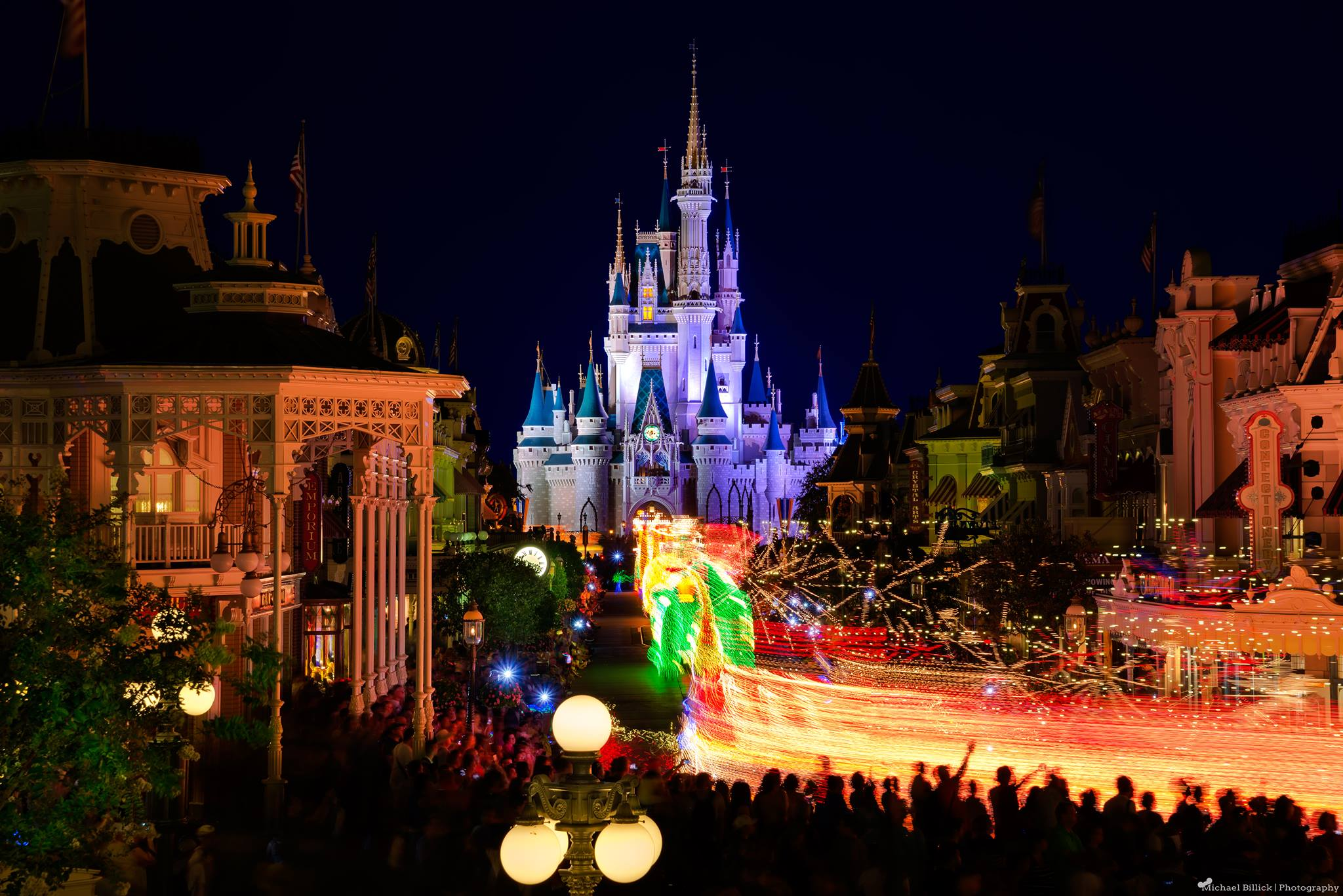 The Wholw Main Street Electrical Parade in one shot