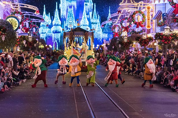 The Seven Dwarfs marching in the Christmas parade