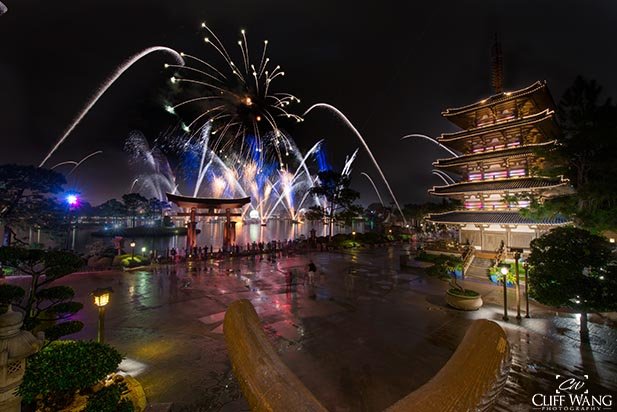 Watching Illuminations from the Japan Pavilion
