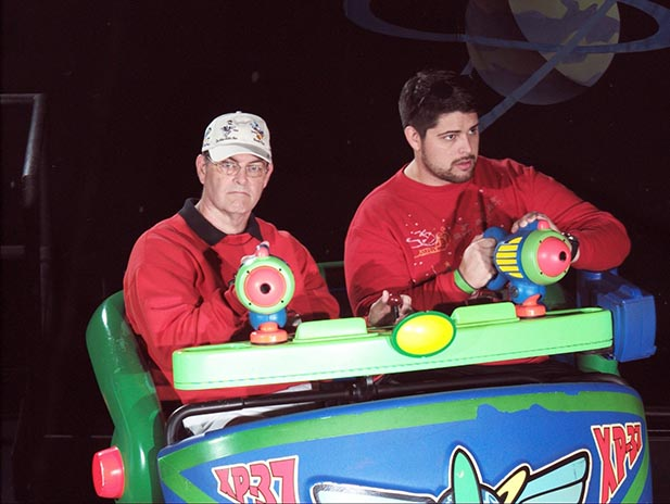 Dad and The Man-Child on Buzz Lightyear