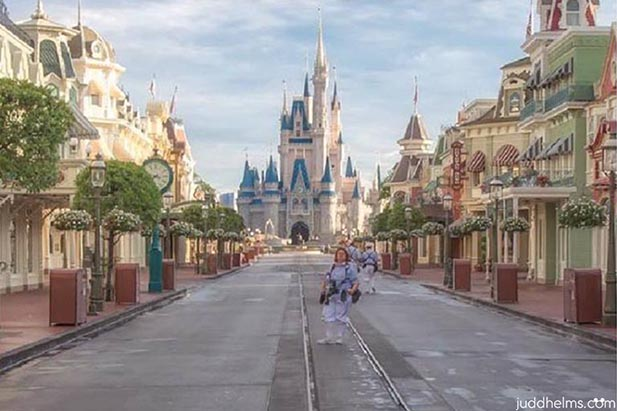 PhotoPass photographer lined up on an empty Main Street