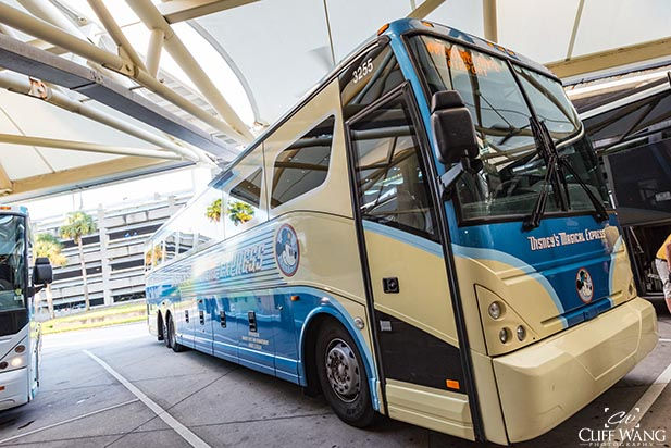 A Disney Magical Express bus at the Orlando International Airport