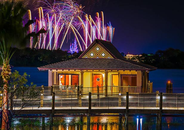 Fireworks behind the new Polynesian Bungalows
