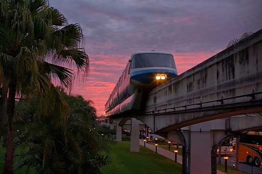 The Blue Monorail at Walt Disney World pulling in to the Polynesian Resort