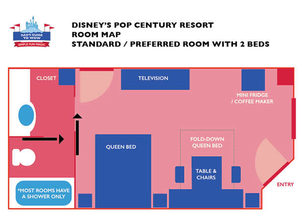 Refurbished Queen Room Layout at the Pop Century