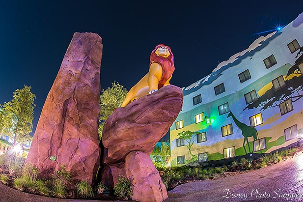 Simba rules over the Lion King area of the Art of Animation Resort