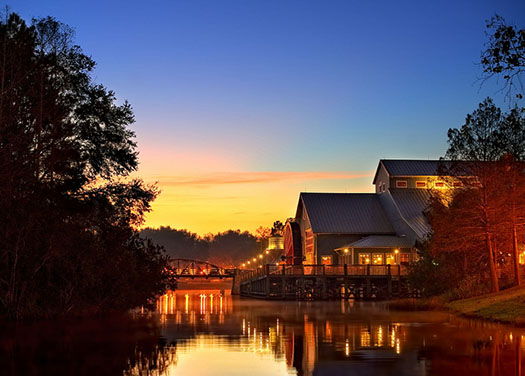 The sunrise over the bayou at Port Orleans at Walt Disney World