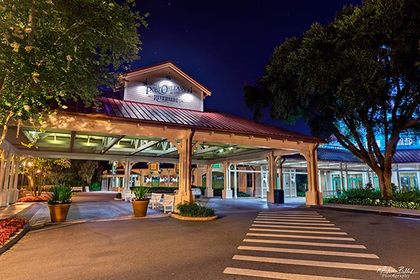 The entrance to the Port Orleans Riverside at night