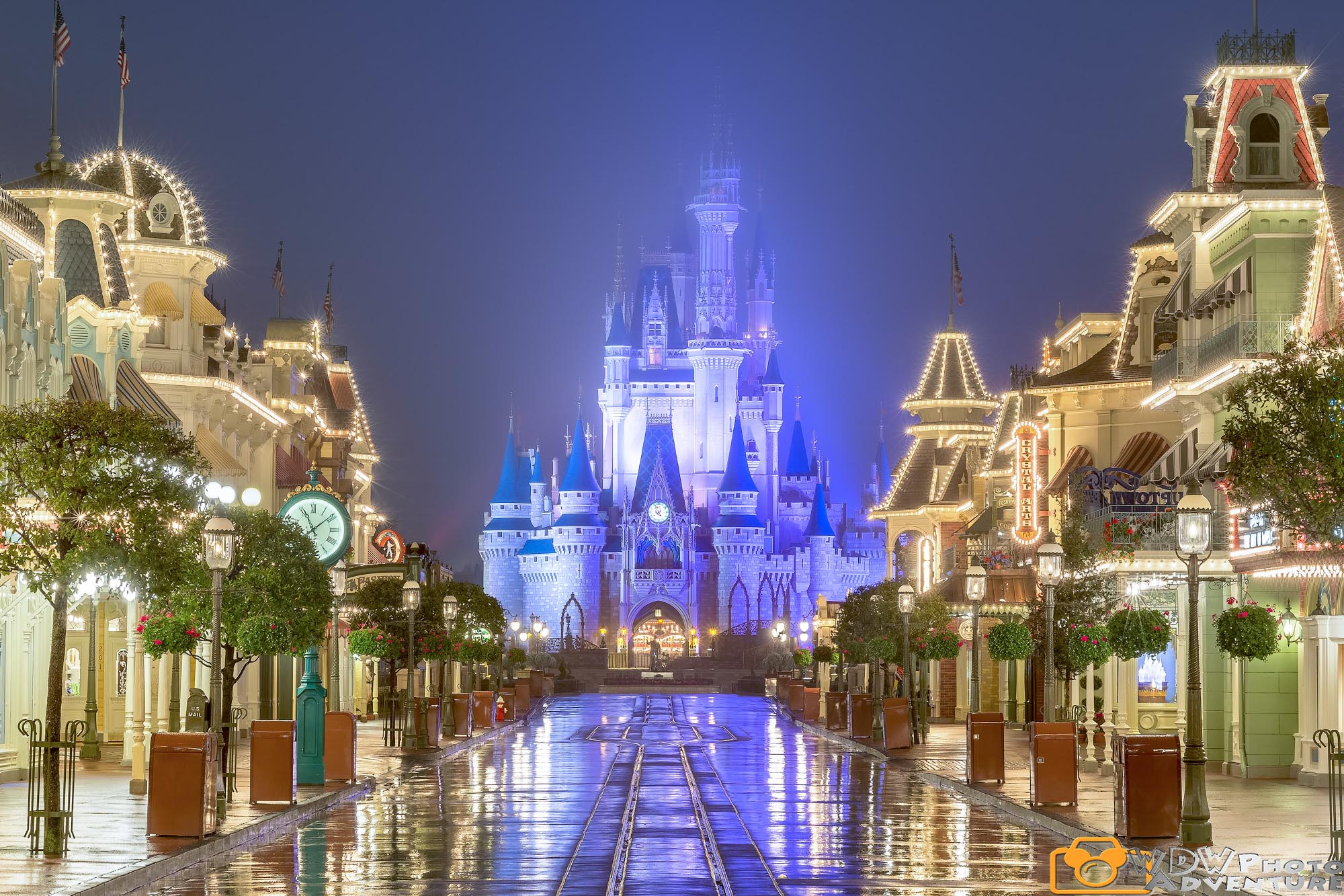 The rain on Main Street at night