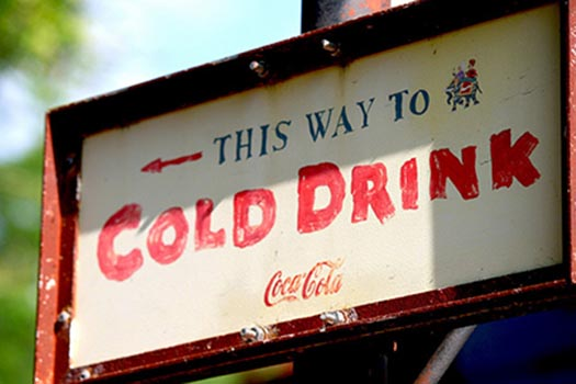 This way to a Cold Drink sign