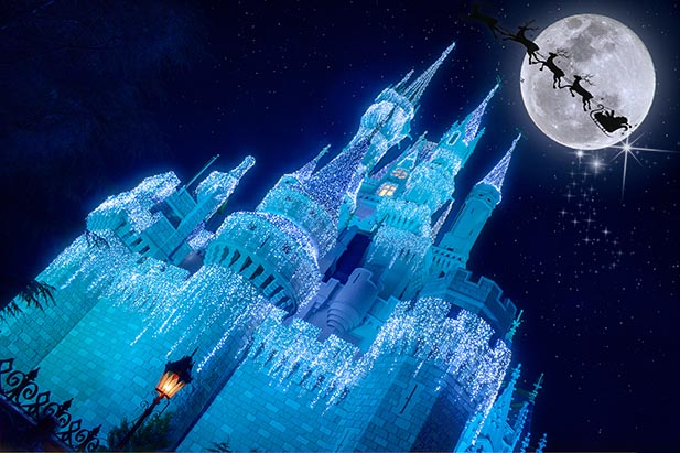 Santa's sleight flying through the moon over Cinderella Castle