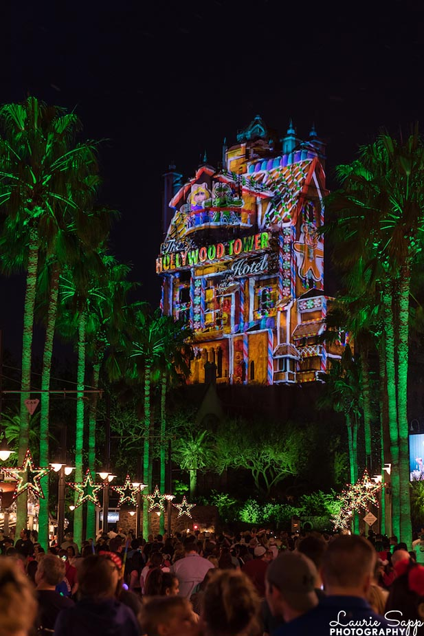 The Tower of Terror all wrapped up for Christmas