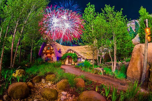 The cottage outside the Seven Dwarfs Mine Train