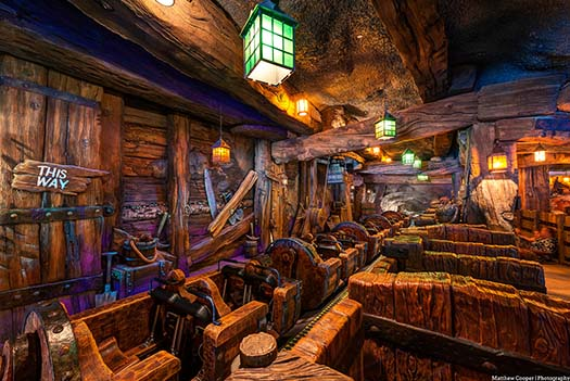 the loading area of the Seven Dwarfs Mine Train