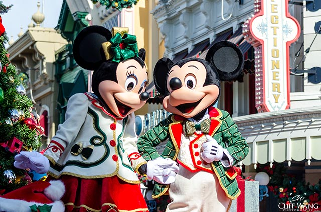 Mickey and Minnie all dolled up for Christmas