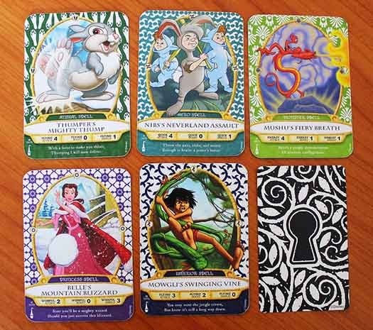 The cards from Sorcerer's of the Magic Kingdom