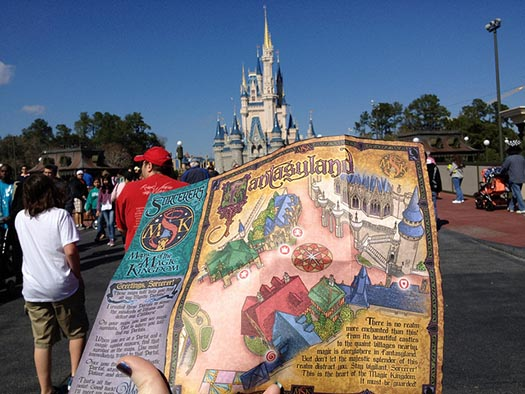 A map from the Sorcerers of the Magic Kingdom game with Cinderella Castle in the background