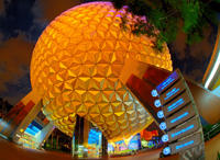 Spaceship Earth in the big middle of EPCOT