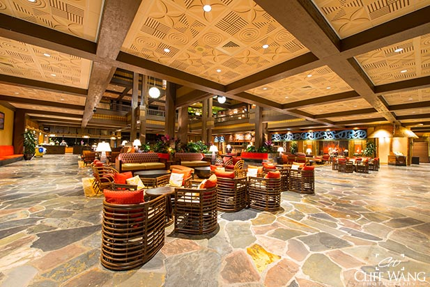 The Polynesian Village Resort lobby, Dad's choice for a split stay
