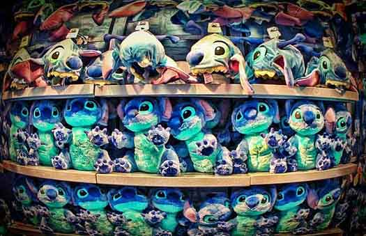 Stitch dolls at a gift shop in the Magic Kingdom