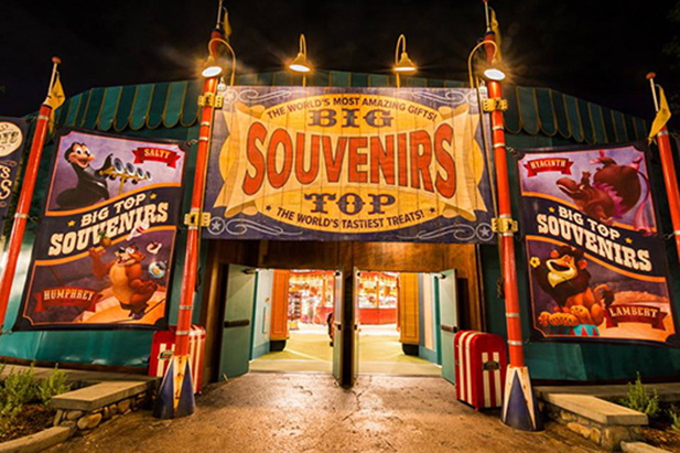 The entrance to Big Top Souvenirs