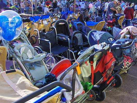 A whole bunch of strollers in the Magic Kingdom
