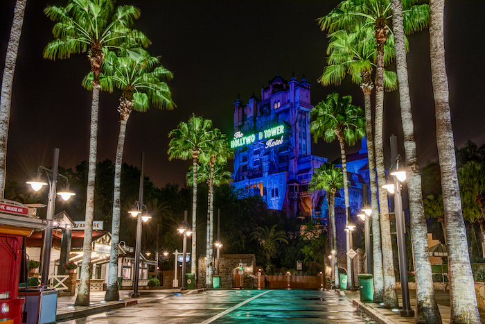 Tower of Terror at night at the end of Sunset Boulevard in Disney's Hollywood Studios