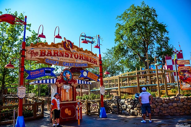 The entrance to The Barnstormer in Storybook Circus